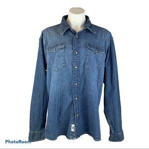 Retro Wrangler Denim Chambray Snap Shirt Mens XL